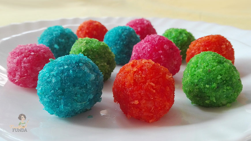 colorful-coconut-balls or Narkel Naru